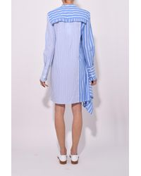 10 Crosby Derek Lam - Asymmetrical Shirtdress With Ruffle Detail In Blue/white - Lyst