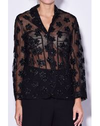 Simone Rocha - Blue Fitted Jacket With Star Flower Embroidery - Lyst