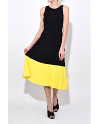10 Crosby Derek Lam - Sleeveless Pleated Dress In Black/citrus - Lyst