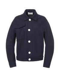 Tibi - Blue Leigh Bonded Wool Bomber In Navy for Men - Lyst