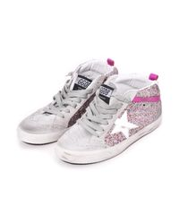 Golden Goose Deluxe Brand - Mid Star Sneaker In Multicolor Glitter/white Star - Lyst