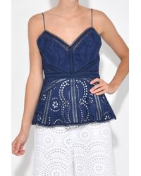 Zimmermann | Blue Paradiso Embroidered Cami In Navy | Lyst