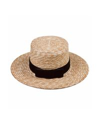 Lack of Color - Blue Midnight Velour Hat In Natural Straw - Lyst