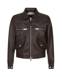 Burberry Brown Tumbled Leather Jacket for men