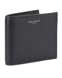Saint Laurent - Black Grained Leather Bifold Wallet for Men - Lyst