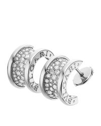 BVLGARI - Metallic White Gold And Diamond B.zero1 Hoop Earrings - Lyst