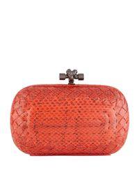 Bottega Veneta - Red Knot Boutis Snake Clutch - Lyst
