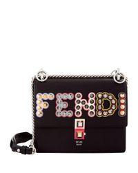 Fendi - Black Small Kan I Embellished Leather Bag - Lyst