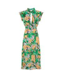 Sandro - Green Floral Silk Midi Dress - Lyst
