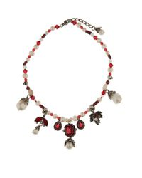 Alexander McQueen - White Beaded Multi Drop Necklace, One Size - Lyst