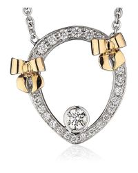 Theo Fennell - White Diamond And Rose Gold Bow Tryst Necklace - Lyst