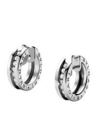 BVLGARI - Metallic White Gold B.zero1 Diamond Trim Hoop Earrings - Lyst