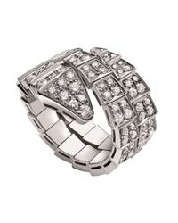 BVLGARI | Metallic Serpenti 18kt White-gold And Diamond Ring | Lyst