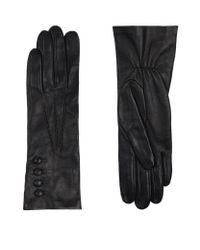 Harrods - Black Silk Lined Elasticated Leather Gloves - Lyst