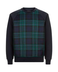 Burberry - Blue Check Panel Sweatshirt for Men - Lyst