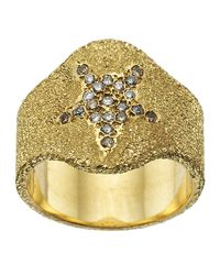 Carolina Bucci - Metallic Pav Sparkly Shield Ring, Grey, One Size - Lyst