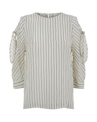 Sandro - Natural Striped Tie Sleeve Shirt - Lyst