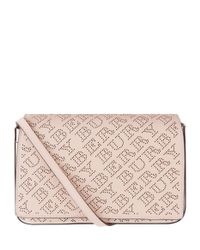 Burberry Pink Perforated Logo Wallet Bag