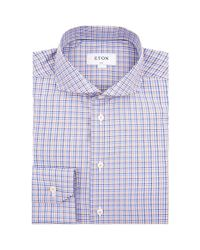 Eton of Sweden - Blue Grid Check Slim Fit Shirt for Men - Lyst