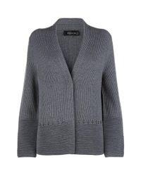 St. John | Gray Ribbed Knit Cardigan | Lyst