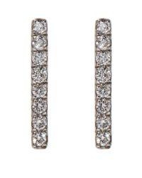 Susan Foster - White Gold Diamond Bar Earrings - Lyst