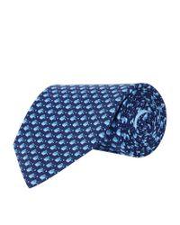 Ferragamo - Blue Mini Fish Silk Tie for Men - Lyst