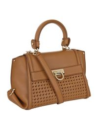 Ferragamo - Brown Small Sofia Basket Weave Tote - Lyst