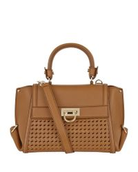 Ferragamo | Brown Small Sofia Basket Weave Tote | Lyst