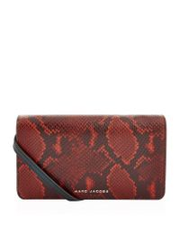 Marc Jacobs - Brown Small Block Letter Snake Cross Body Wallet - Lyst