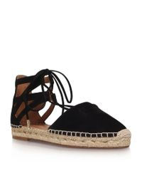 Aquazzura - Black Belgravia Lace-Up Suede Espadrilles - Lyst