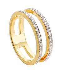 Monica Vinader | Metallic Skinny Double Band Diamond Ring | Lyst