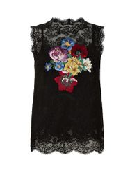 Dolce & Gabbana | Black Floral Lace Top | Lyst
