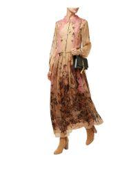 Alberta Ferretti   Brown Lace Collar Floral Silk Midi Dress   Lyst