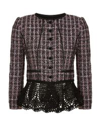 Oscar de la Renta | Black Lace Peplum Tweed Jacket | Lyst