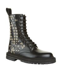 Burberry | Black Aster Eylet Embellished Boot | Lyst