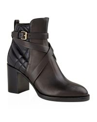 Burberry | Black Cross Strap Quilted Leather Boots | Lyst
