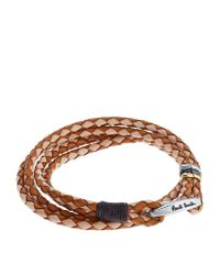 Paul Smith | Brown Braided Leather Bracelet | Lyst