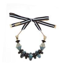 Weekend by Maxmara | Multicolor Beaded Ribbon Tie Necklace | Lyst