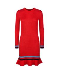 3.1 Phillip Lim - Red Smocked Ruffle Hem Dress - Lyst