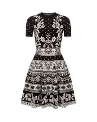 Alexander McQueen | Black Floral Jacquard Stretch-knit Mini Dress | Lyst