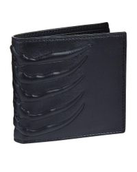Alexander McQueen   Blue Leather Ribcage Bi-fold Wallet for Men   Lyst