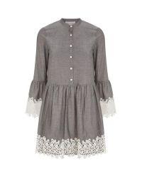 Robert Rodriguez | Gray Embroidered Trim Long Sleeve Dress | Lyst