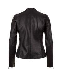 Reiss | Black Adalie Croc Effect Leather Jacket | Lyst