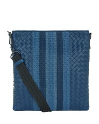 Bottega Veneta | Blue Bora Intrecciato Messenger Bag for Men | Lyst