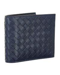 Bottega Veneta | Blue Intrecciato Leather Billfold Wallet for Men | Lyst