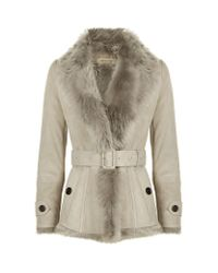 Burberry | Multicolor Shearling Wrap Jacket | Lyst