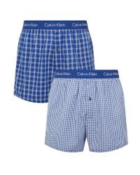 Calvin Klein | Blue Check Boxer Shorts (pack Of 2) for Men | Lyst