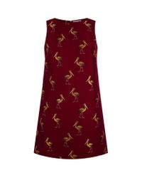 Alice + Olivia | Red April Jacquard Bird Dress | Lyst