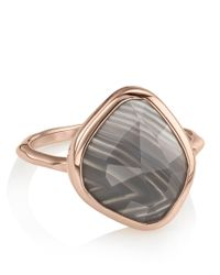 Monica Vinader - Metallic Siren Nugget Grey Agate Stacking Ring - Lyst