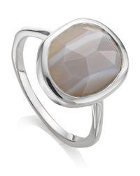 Monica Vinader - Metallic Medium Siren Grey Agate Stacking Ring - Lyst